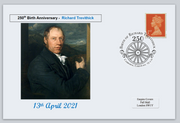 GB 2021 250th birth anniversary richard trevithick railways transport privately produced (white) glossy postal card 150 x 100mm superb used #3