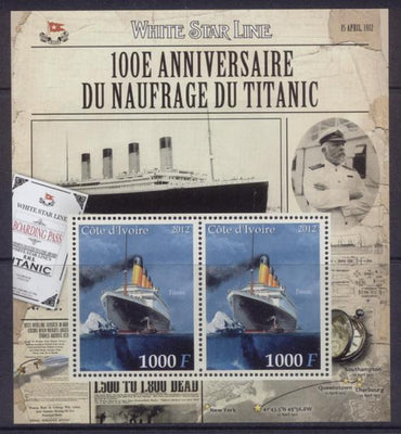 Ivory Coast 2012 100th anniversary sinking of the titanic disasters ships m/sheet mnh