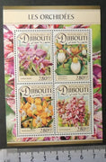 Djibouti 2016 flowers orchids m/sheet mnh
