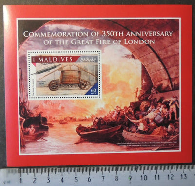 Maldives 2016 great fire of london disasters souvenir sheet mnh
