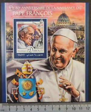 Djibouti 2016 pope francis religion popes s/sheet mnh