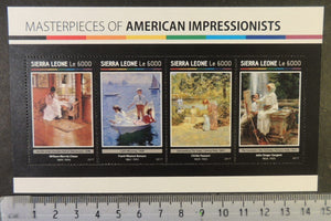 Sierra Leone 2017 american impressionists art chase benson hassam sargent m/sheet mnh