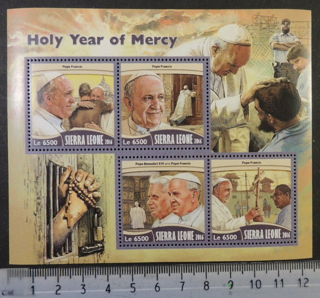 Sierra Leone 2016 holy year of mercy popes benedict xvi francis religion m/sheet mnh