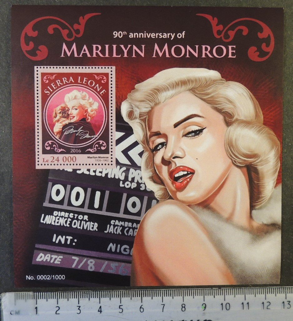 Sierra Leone 2016 marilyn monroe cinema music pinup women dogs s/sheet mnh