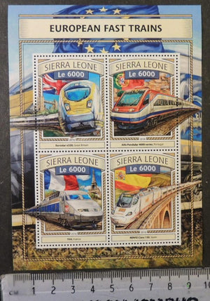 Sierra Leone 2016 european fast trains railways transport tgv renfe alfa pendular eurostar m/sheet mnh