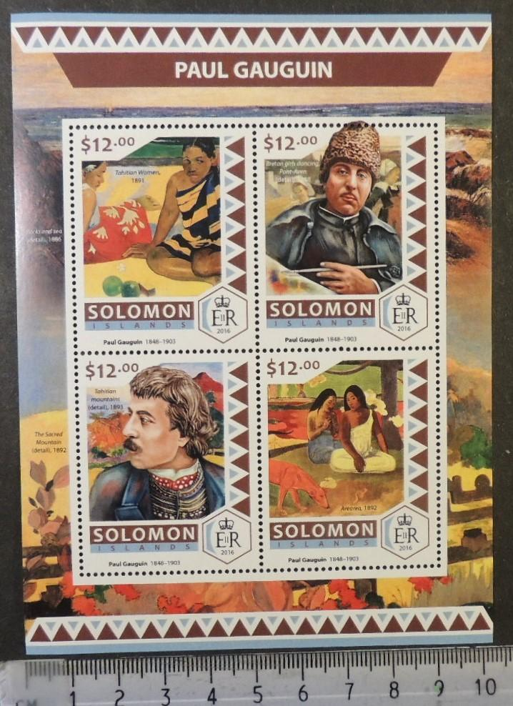Solomon Islands 2016 art paul gauguin paintings m/sheet mnh