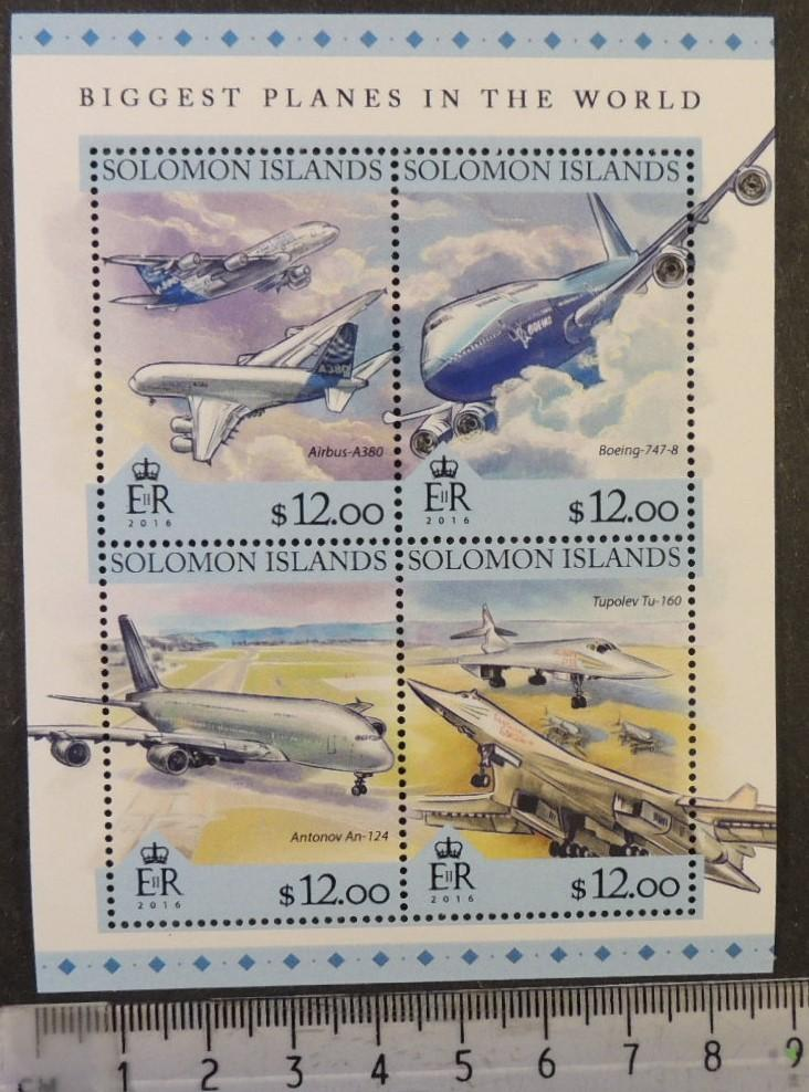 Solomon Islands 2016 planes of the world aviation airbus boeing antonov tupolev m/sheet mnh