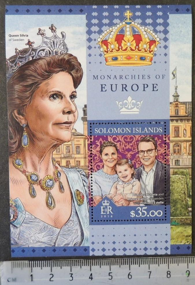 Solomon Islands 2016 monarchies of europe queen silvia sweden royalty s/sheet mnh