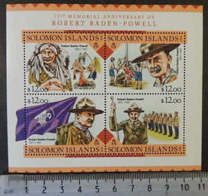 Solomon Islands 2016 robert baden powell scouts flags children m/sheet mnh
