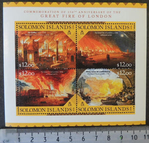 Solomon Islands 2016 great fire of london disasters m/sheet mnh