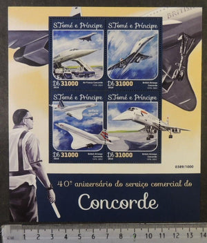 St Thomas 2016 concorde aviation air france british airways transport m/sheet mnh