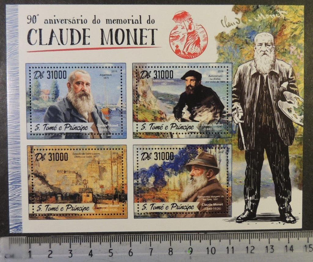 St Thomas 2016 claude monet art paintings m/sheet mnh