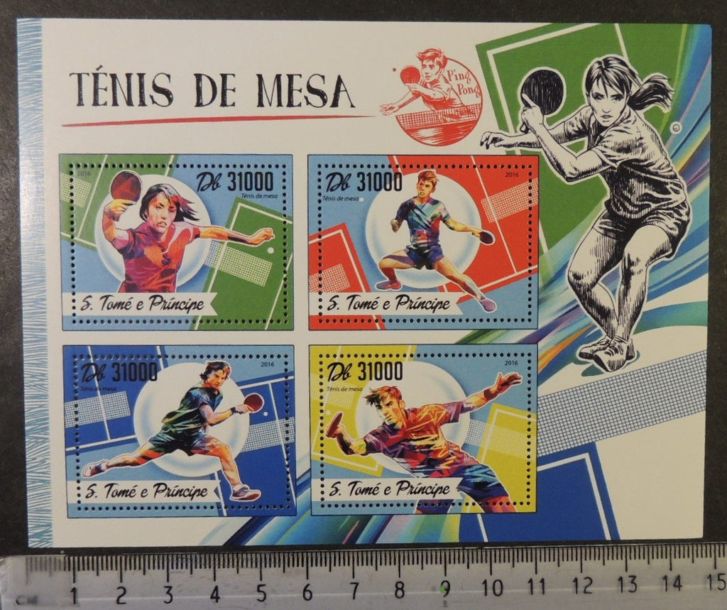 St Thomas 2016 sport table tennis women m/sheet mnh