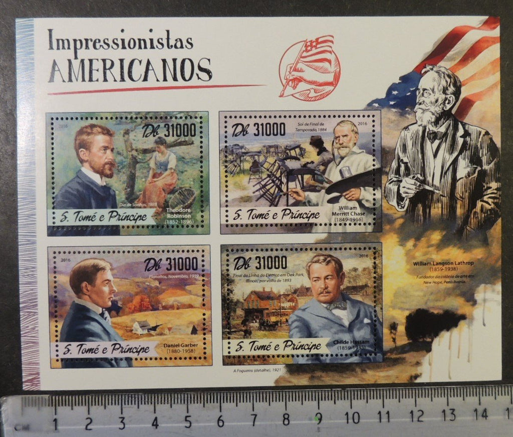 St Thomas 2016 art american impressionists paintings robinson chase garber hassam m/sheet mnh