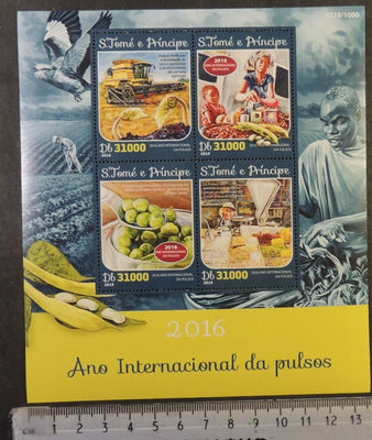 St Thomas 2016 international year of pulses food plants beans birds m/sheet mnh