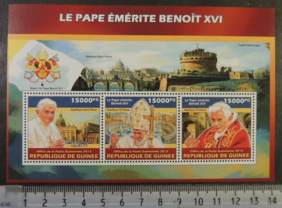 Guinea 2013 pope benedict xvi popes religion castles bridges m/sheet mnh