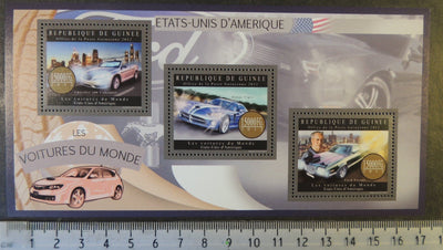 Guinea 2012 cars usa chrysler dodge viper ford torino m/sheet mnh