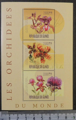 Guinea 2013 orchids flowers m/sheet mnh