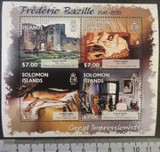 Solomon Islands 2013 great impressionists frederic bazille art paintings women fish castles m/sheet mnh