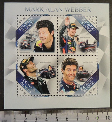 Solomon Islands 2013 formula 1 one mark webber m/sheet mnh