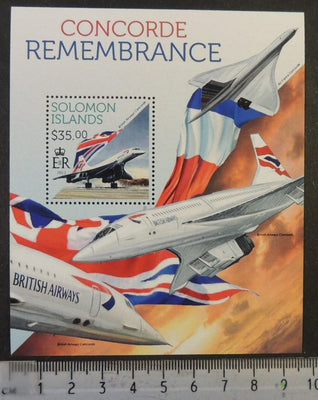 Solomon Islands 2013 concorde rememberance aviation transport flags s/sheet mnh