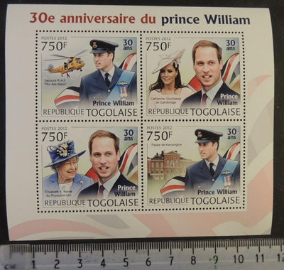 Togo 2012 prince william kate royalty helicopters aviation m/sheet mnh
