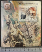 Togo 2012 joan of arc militaria women horses statues churches s/sheet mnh
