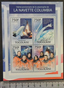 Togo 2013 columbia space shuttle disaster m/sheet mnh