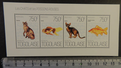 Togo 2013 cats animals gold fish m/sheet mnh