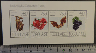 Togo 2013 bats mammals fruits grapes pomegranate m/sheet mnh