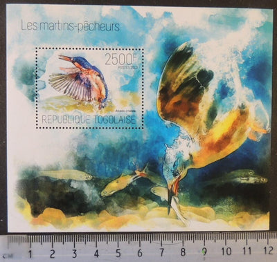 Togo 2013 kingfishers birds fish s/sheet mnh