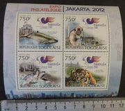 Togo 2012 jakarta 2012 stamp exhibition whales turtles tigers m/sheet mnh