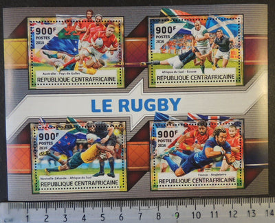 Central African Republic 2016 rugby sport australia scotland south africa france sport m/sheet mnh