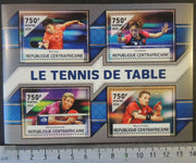 Central African Republic 2016 table tennis ping pong sport ma long liu shiwen viktoria pavlovich marcos freitas m/sheet mnh