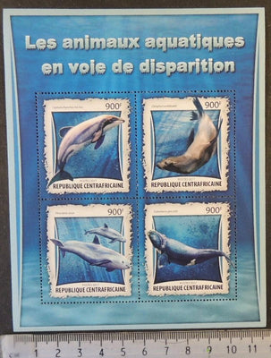 Central African Republic 2017 endangered species marine life dolphons seals whales m/sheet mnh
