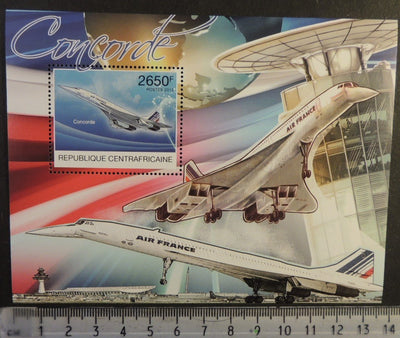 Central African Republic 2012 concorde aviation transport s/sheet mnh