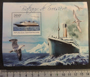 Central African Republic 2012 cruise ships liners transport titanic gulls birds s/sheet mnh