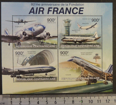 Central African Republic 2013 air france aviation transport concorde m/sheet mnh