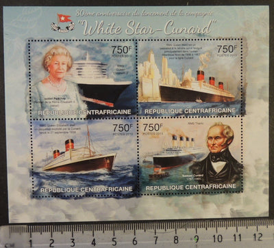 Central African Republic 2013 white star line cunard royalty ships qeii transport titanic m/sheet mnh