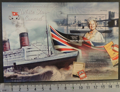 Central African Republic 2013 white star line cunard ships flags queen mother royalty transport titanic s/sheet mnh