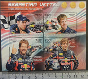 Central African Republic 2013 sebastian vettle racing cars formula one 1 sport red bull flags m/sheet mnh