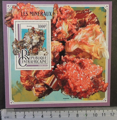 Central African Republic 2016 minerals brookite vanadinite s/sheet mnh
