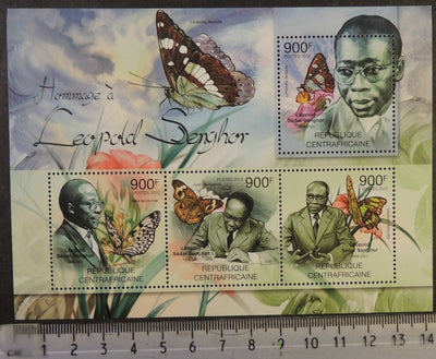 Central African Republic 2012 leopold senghor poet literature insects butterflies m/sheet mnh