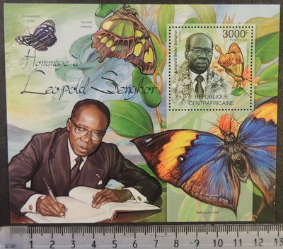 Central African Republic 2012 leopold senghor poet literature insects butterflies s/sheet mnh