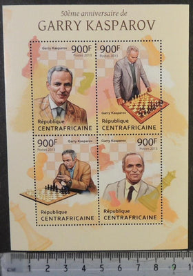 Central African Republic 2013 chess garry kasparov m/sheet mnh