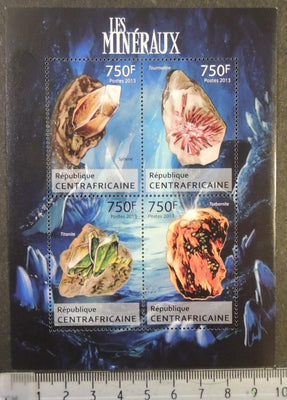 Central African Republic 2013 minerals sphene tourmaline titanite torbernite m/sheet mnh