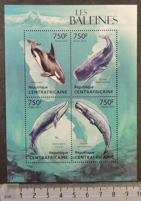 Central African Republic 2013 whales marine life mammals m/sheet mnh