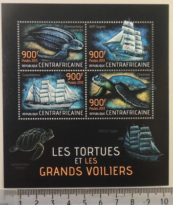 Central African Republic 2013 turtles reptiles sailing ships m/sheet mnh
