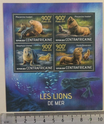 Central African Republic 2013 sea lions marine life mammals m/sheet mnh