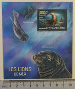 Central African Republic 2013 sea lions marine life mammals s/sheet mnh